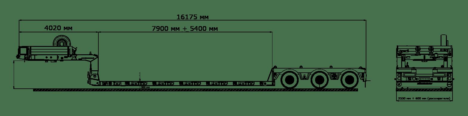 Низкорамный трал раздвижной и расширяемый 3х и более осный для сверх тяжелых грузов